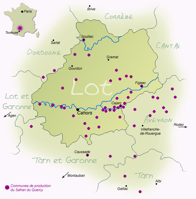 Carte de production du Safran du Quercy